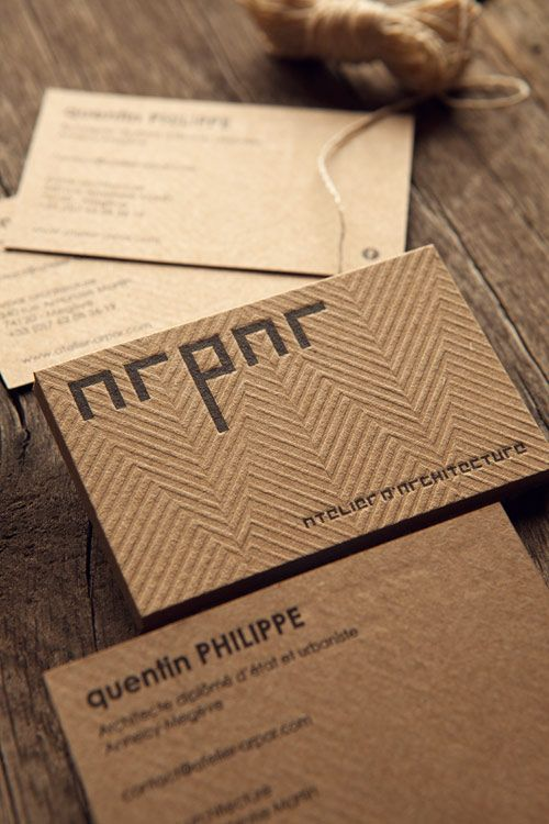 Carte De Visite ARPAR Architecture Imprimee Sur Carton Recycle Francais Brun Business Cards Letterpress Printed Onto Recycled Kraft Coloured French Paper