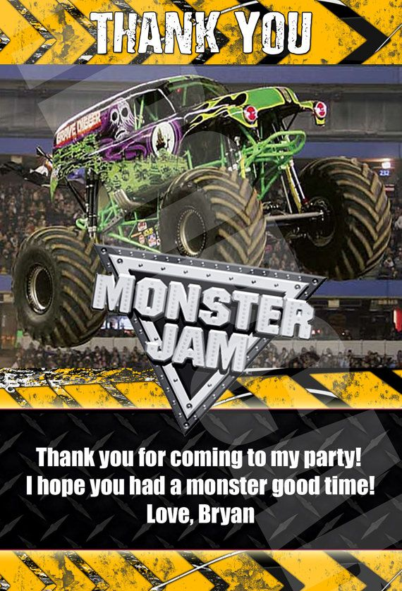 Monster Jam Monster Trucks Birthday Party Thank by DigiPopCards