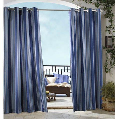 Blue Gazebo Stripe Grommet Top Indoor Outdoor Curtain Panel