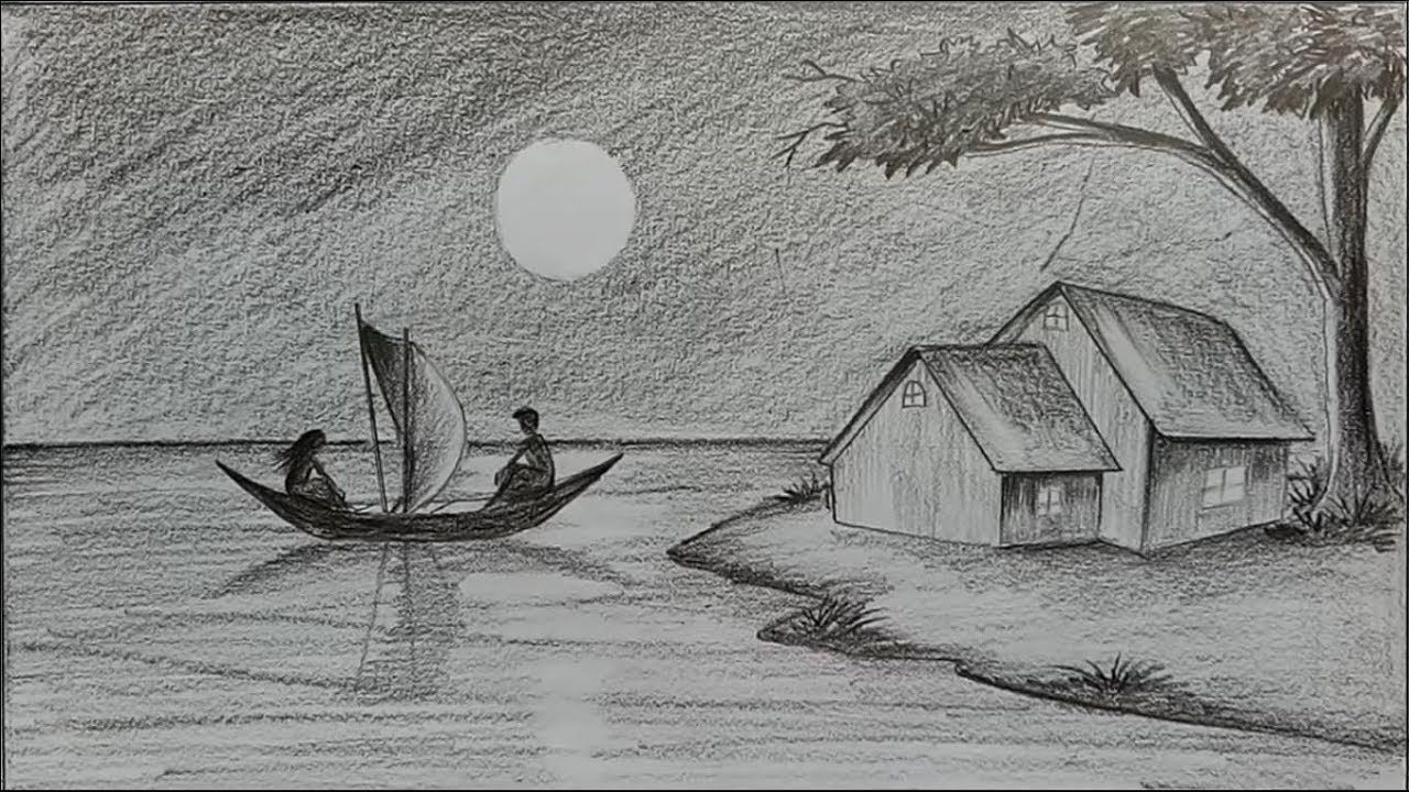 How To Draw Moonlit Night With Pencil Step By Step Landscape Pencil Drawings Drawing Scenery Pencil Art Drawings