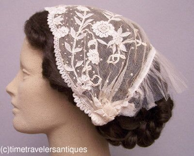 Rare Civil War Era Lady's Brussels Lace Head-Dress | eBay