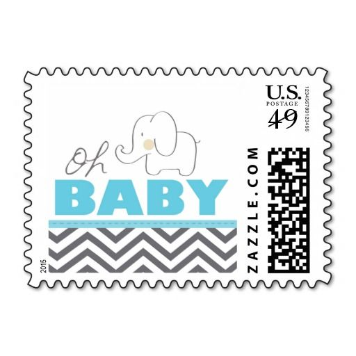 High Quality Oh Baby Elephant   Blue Baby Shower Stamp Postage