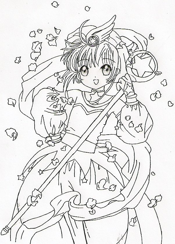 find this pin and more on coloring book cardcaptor sakura - Cardcaptor Sakura Coloring Pages
