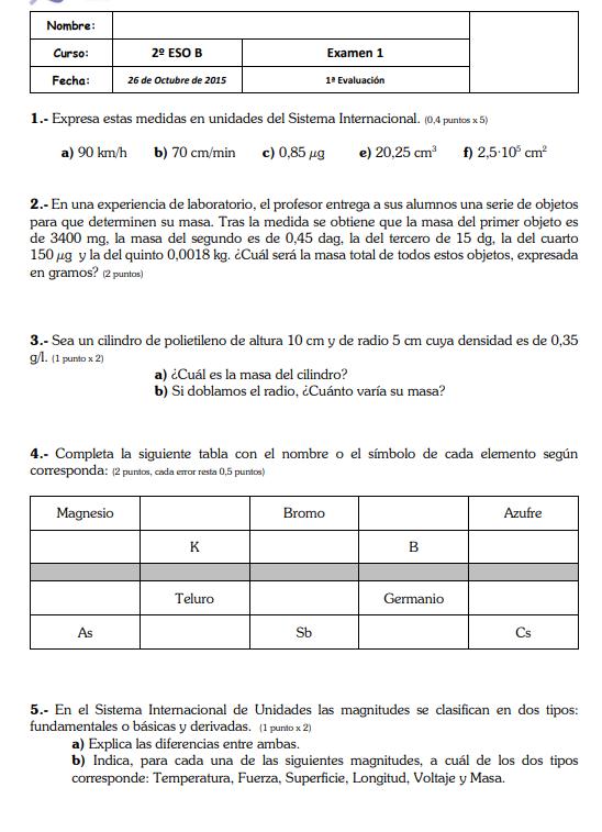 Examenes Fisica Y Quimica 2 Eso Santillana Química Física Examen