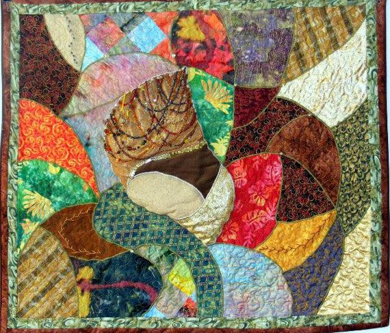 Bebop in the Small of Her Back art quilt by FiberThreadYarn, $662.50