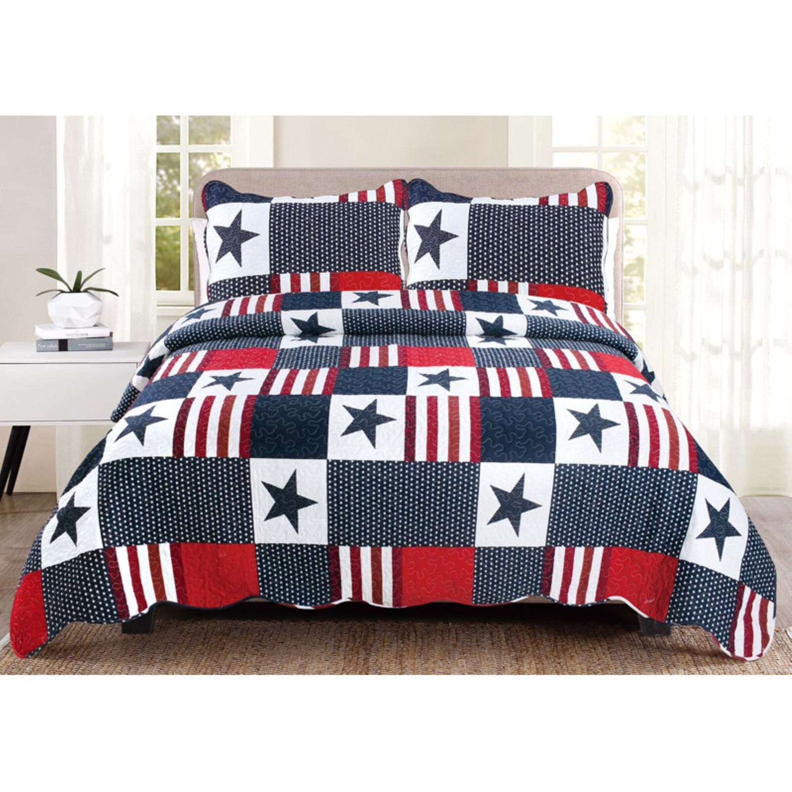 Americana Quilt Set by United Curtain, Size King is part of Quilt sets, Mattress furniture, King quilt sets, Comforters, Luxury bedding, Sports bedding - polyester  QAMKMU