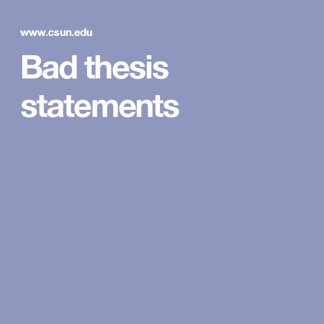 Bad dissertation