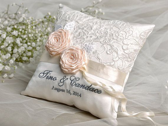 Lace Wedding Pillow Ring Bearer Embroidery Names Peach Roses Custom Colors Model No