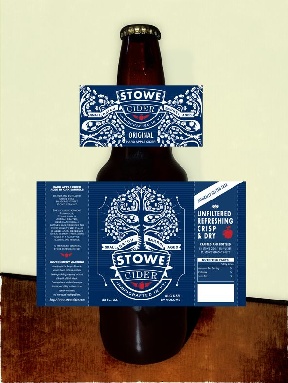 Label design for Stowe Cider by dialfredo.  John and I were proud to be a part of the sale of Snow's Market to the owners of Stowe Cider.  Long may cider rule!