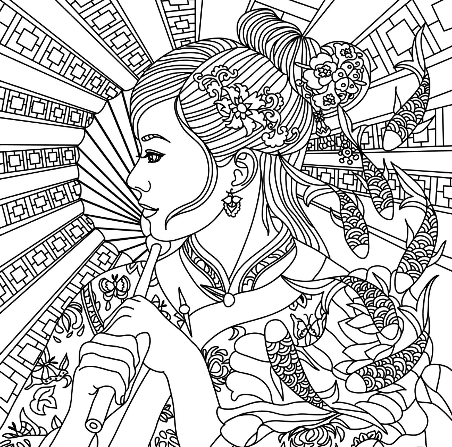 Asian Beauty Adult Coloring Page