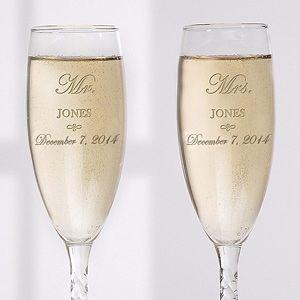 Mrt. and Mrs. Vits 09/18/2015 Personalized Crystal Wedding Champagne Flutes - Mr and Mrs Collection - 3706