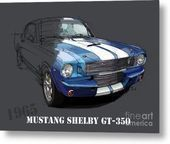 Mustang Shelby Gt-350, Blue And White Classic Car, Gift For Men Metal Print by D…