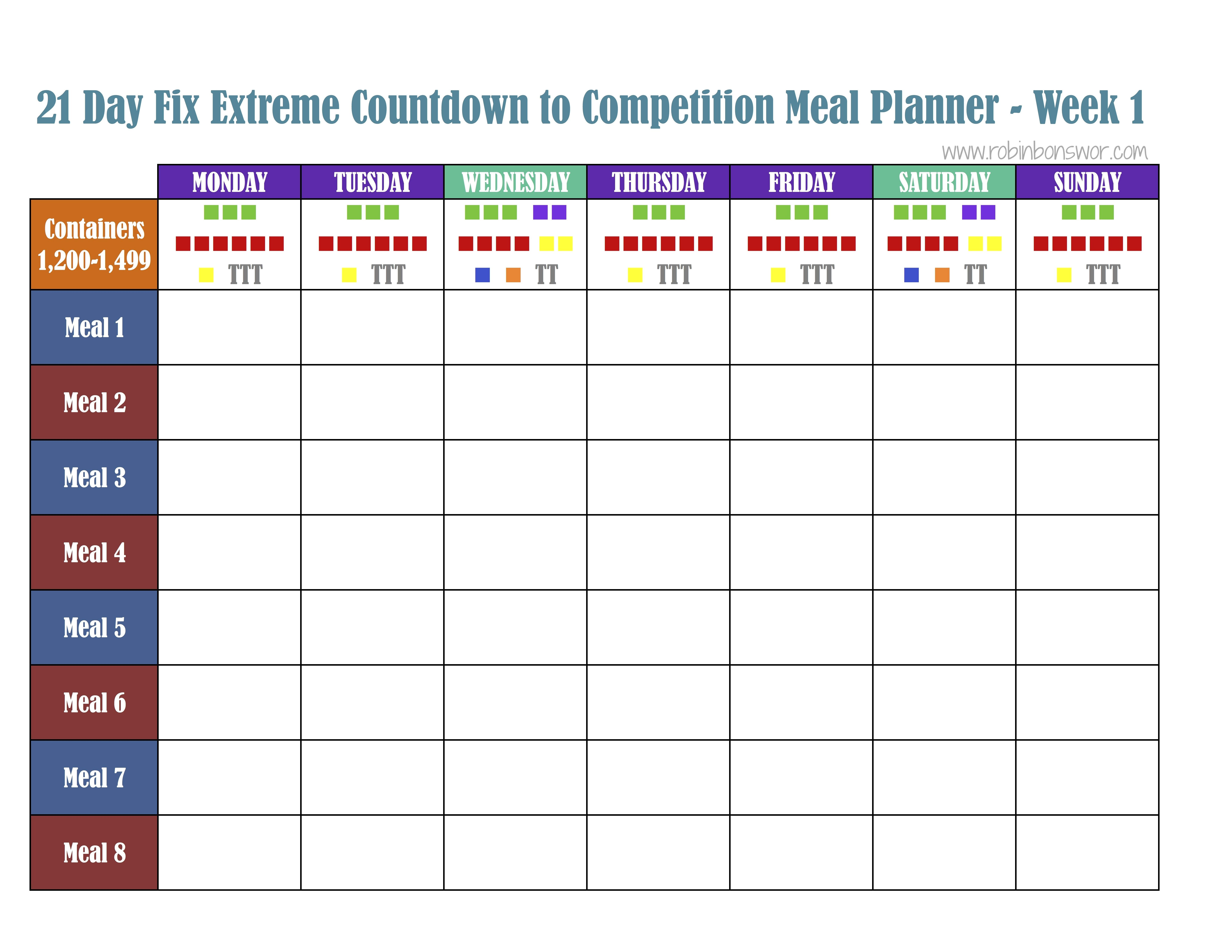 13 Day Fix Meal Plan Template Excel One Checklist That You
