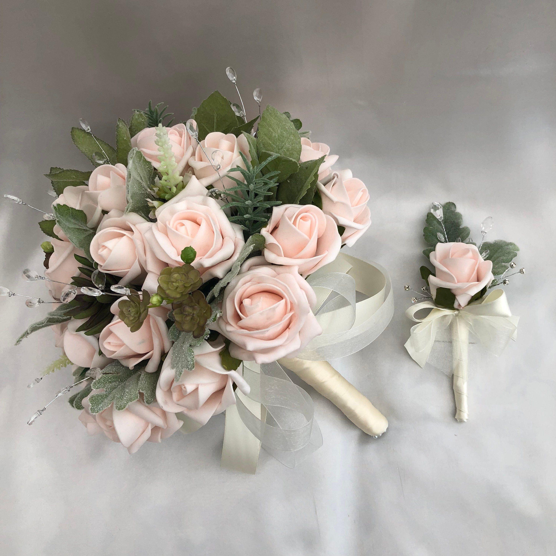 Artificial Wedding Flowers Brides Or Bridesmaids Posy Bouquet 1 Single Rose Button Artificial Flowers Wedding Bride Bouquet Pink Artificial Wedding Bouquets