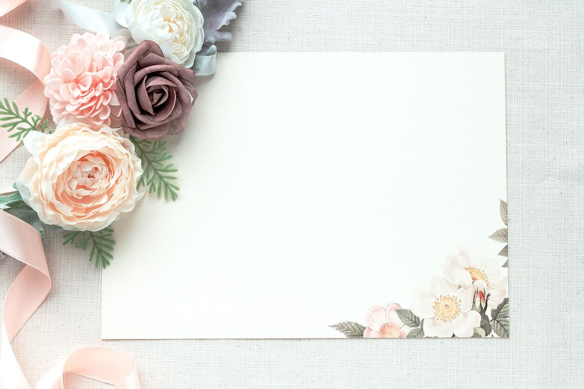 Download Premium Psd Of Blank Card Mockup Decorated With Flowers 2373425 In 2021 Blank Cards Personalized Greeting Cards Free Greeting Cards