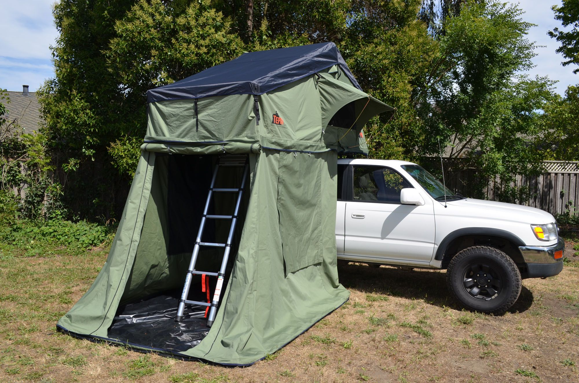Here Is A Look Inside The Annex Of A Autana Model Tent Unit Notice How The Ladder Is Enclosed Inside It Roof Top Tent Top Tents Tent