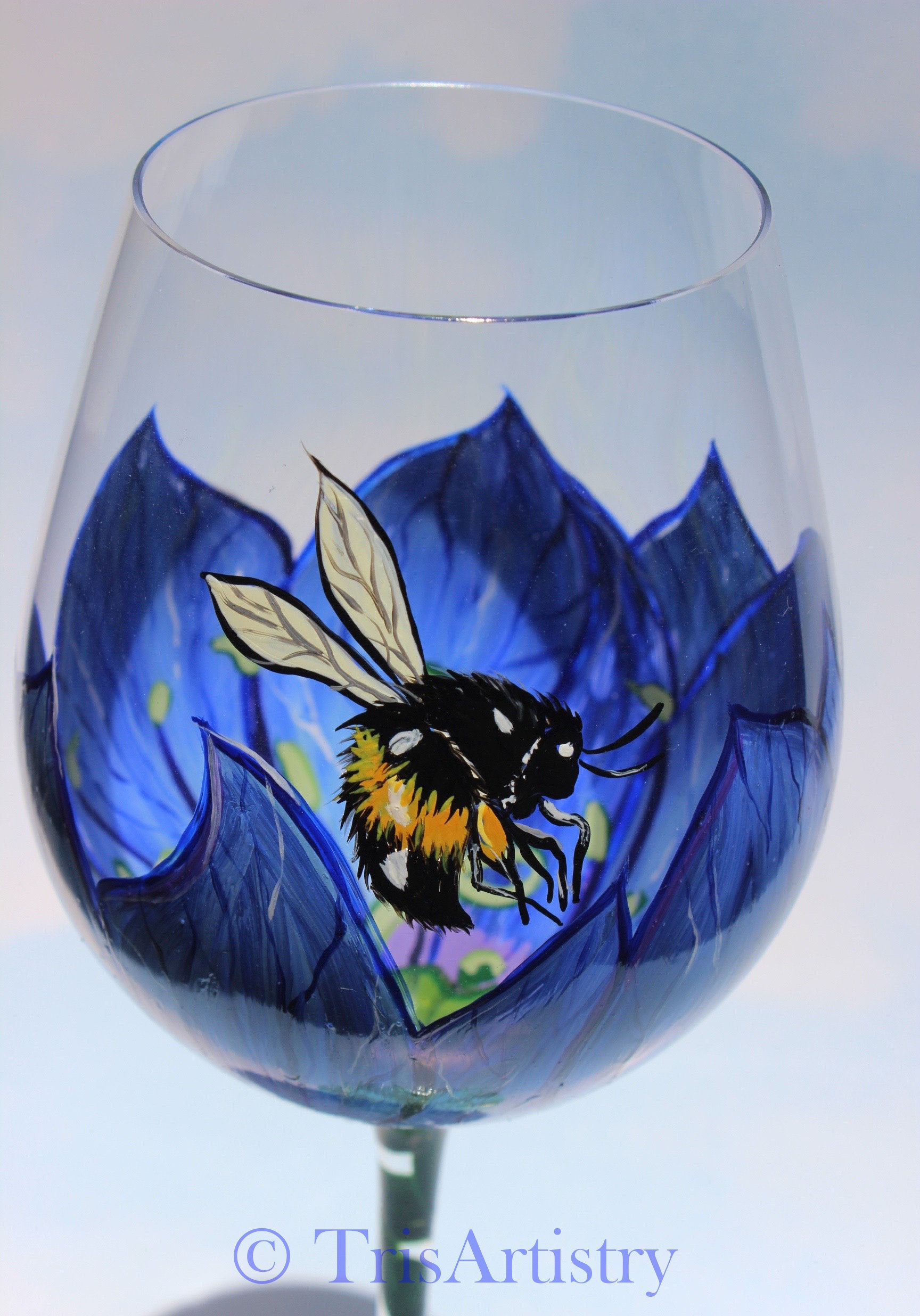 Hand Painted Tall Love in the Mist Wine Glass Love in