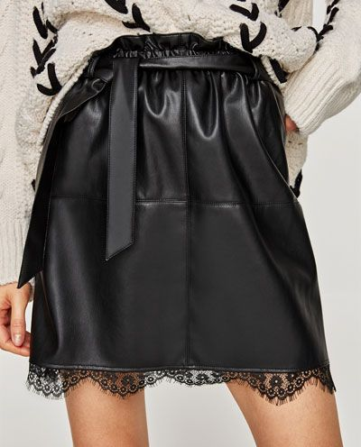 7bb6d45dc FAUX LEATHER SKIRT WITH LACE DETAIL-NEW IN-WOMAN | ZARA United States