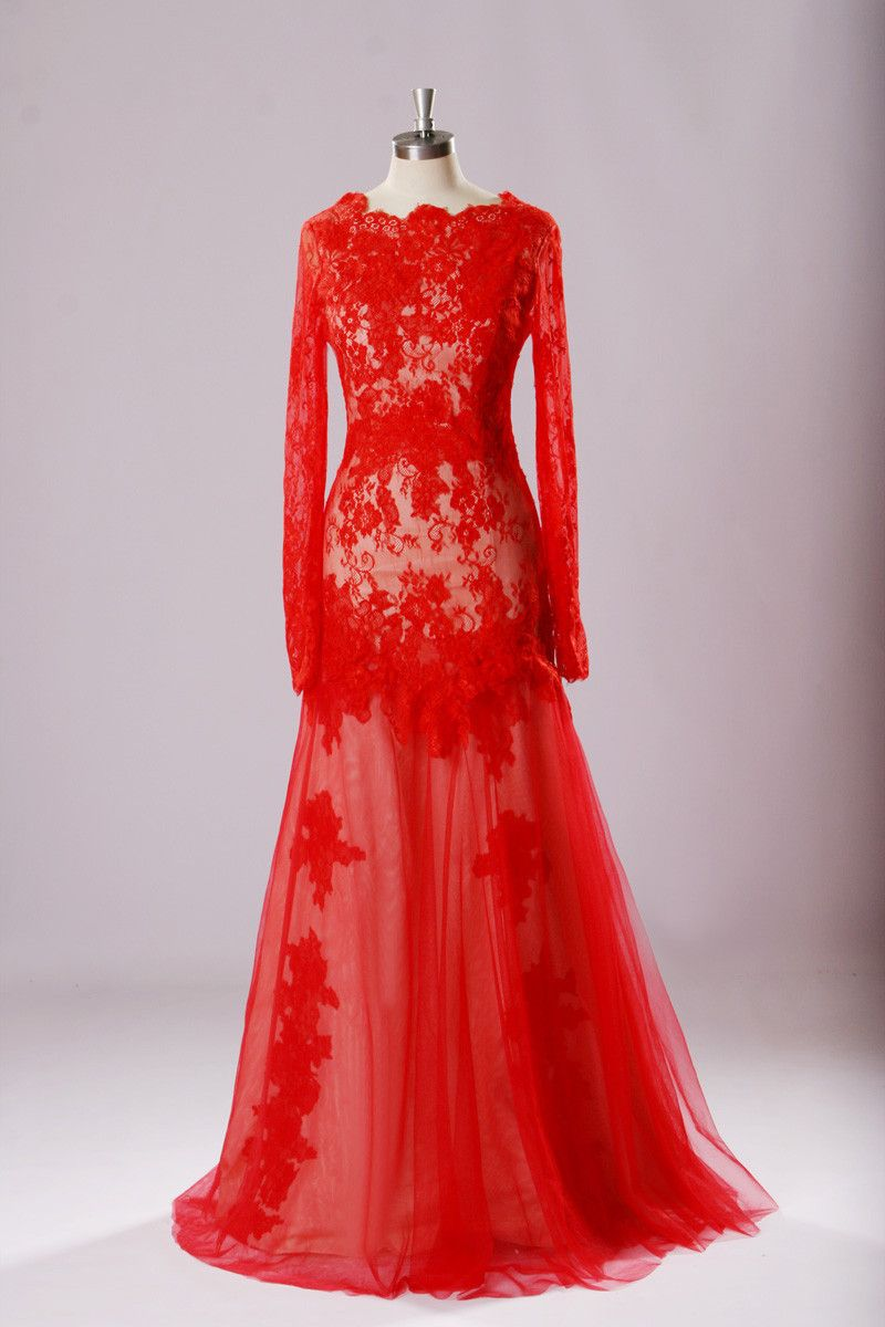 Charming appliques red mermaid evening dress long sleeve long
