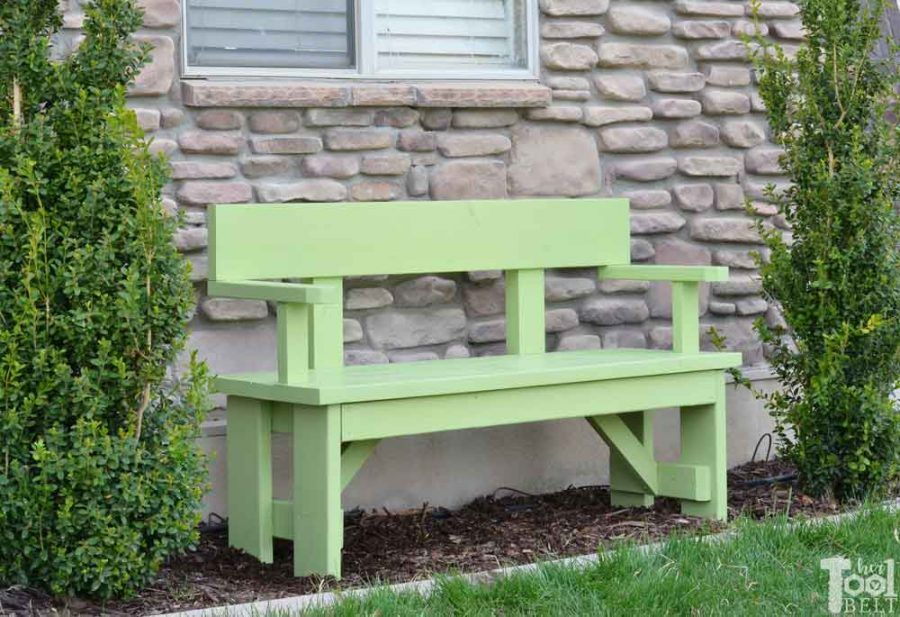 DIY Wood Bench with Back Plans (With images) Diy wood