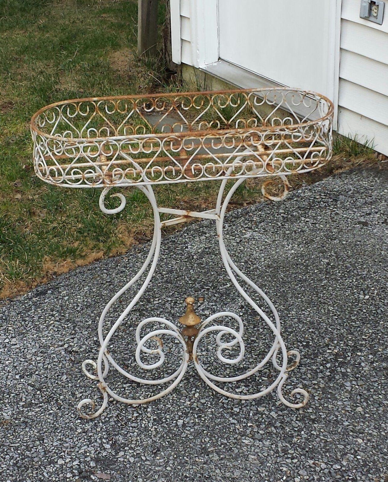 Romantic Vintage White Wrought Iron Scrolled Plant Stand ... on Iron Stand Ideas  id=98816