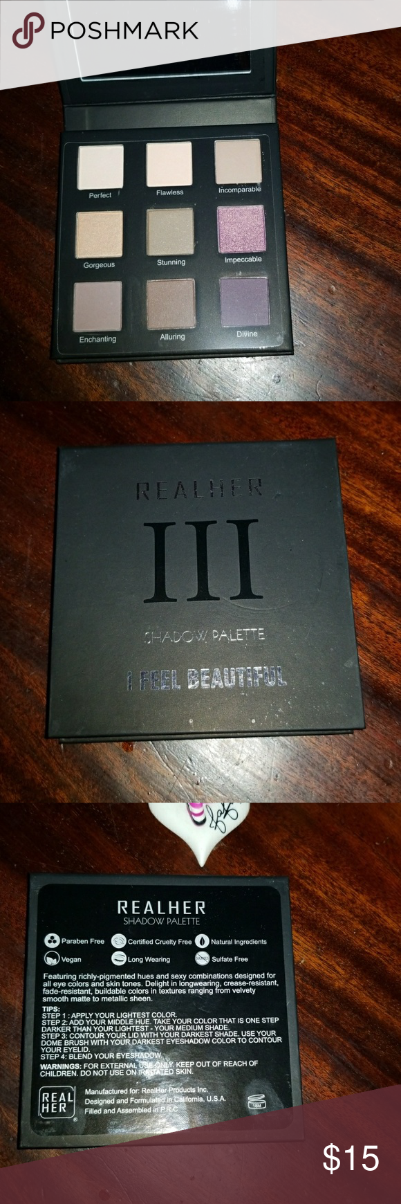 """RealHer Eyeshadow Palette """"I Feel Beautiful"""" Brand new This palette has richly-pigmented hues and sexy combinations designed for all eye colors and skin tones. Delight in long-wearing, crease-resistant, fade-resistant, buildable colors in textures ranging from velvety smooth mattes to metallic sheens. Sephora Makeup Eyeshadow"""