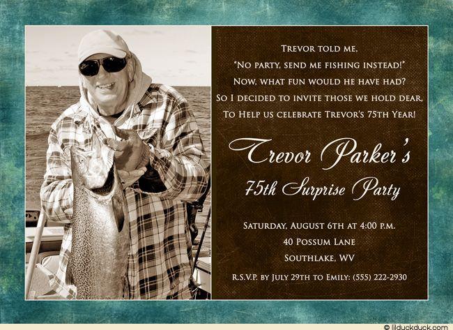Fishing Birthday Invitations For Men Elegant Surprise Photo - Birthday invitation wording for man