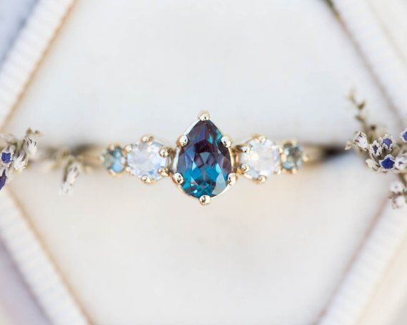 Photo of Alexandrite moonstone cluster five stone engagement ring, 14k gold color change ring, cluster engagement ring, unique engagement ring