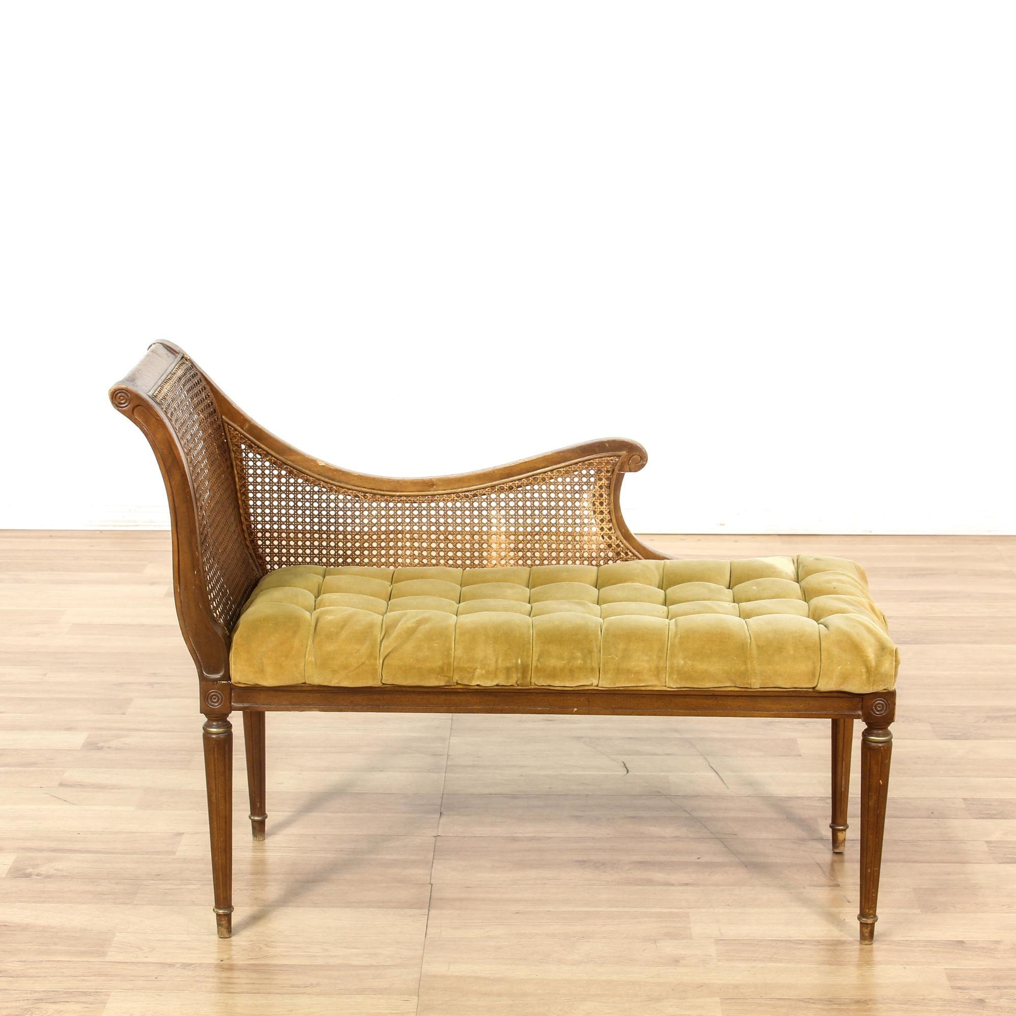 Wicker Back Tufted Velvet Chaise Lounge | Loveseat Vintage Furniture San  Diego U0026 Los Angeles