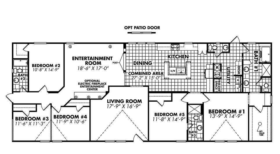5 bedroom double wide floor plans
