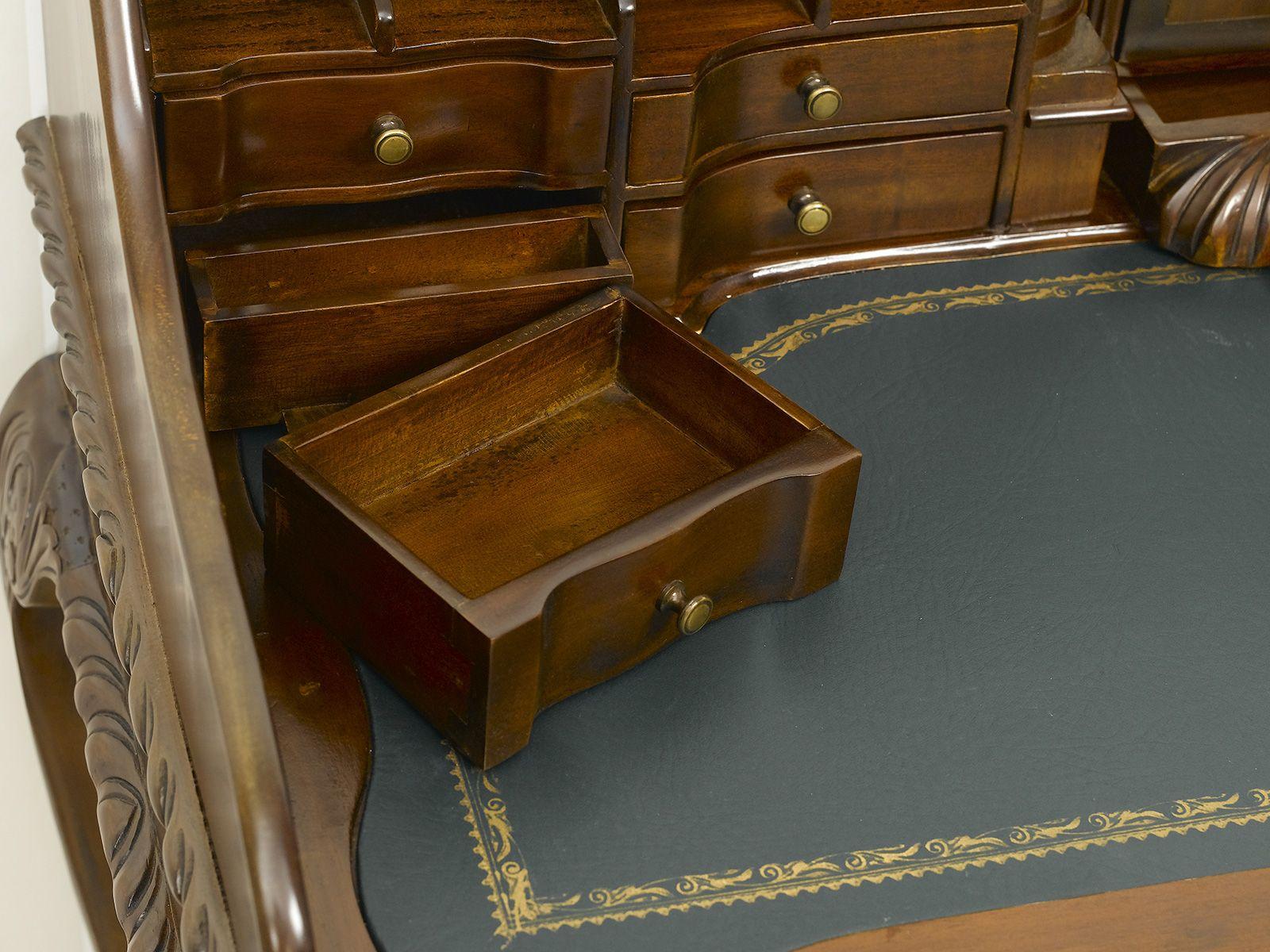 Mobili Chippendale ~ Scrittoio lady chippendale secretaire legno noce piano in ecopelle