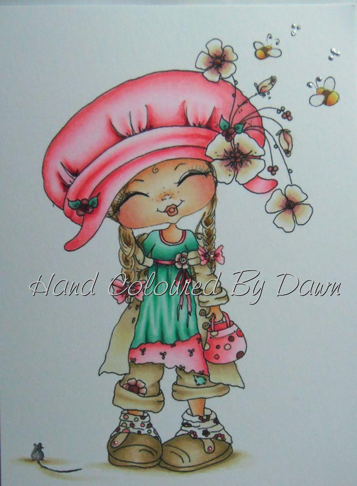 Ooak Card Topper Image - Sherri Baldy Hand Coloured