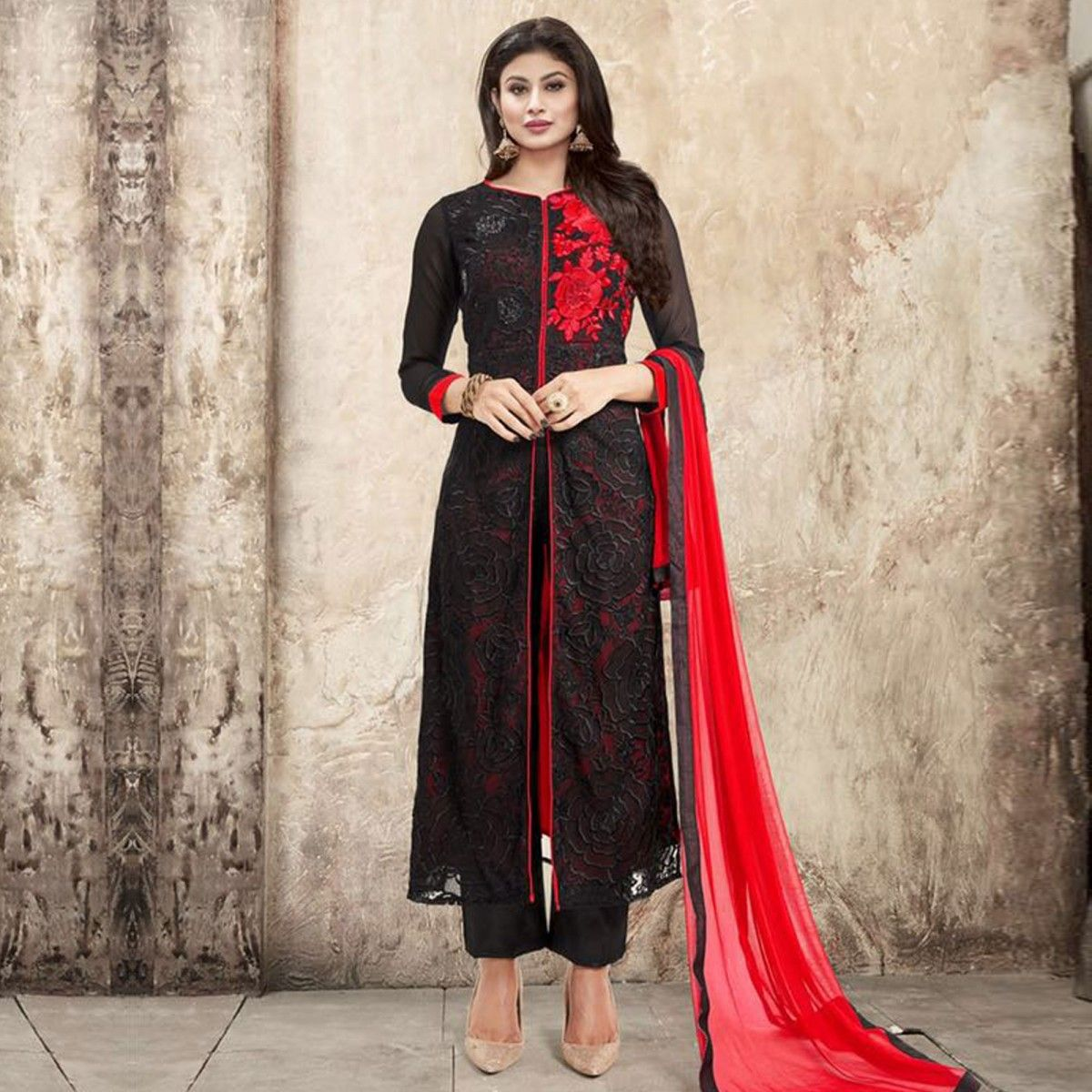 Buy Black Front Slit Salwar Suit - Online Women Ethnic Wear At ...