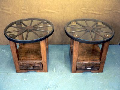 Wagon Wheel End Tables Decor Western Home Decor Rustic Furniture