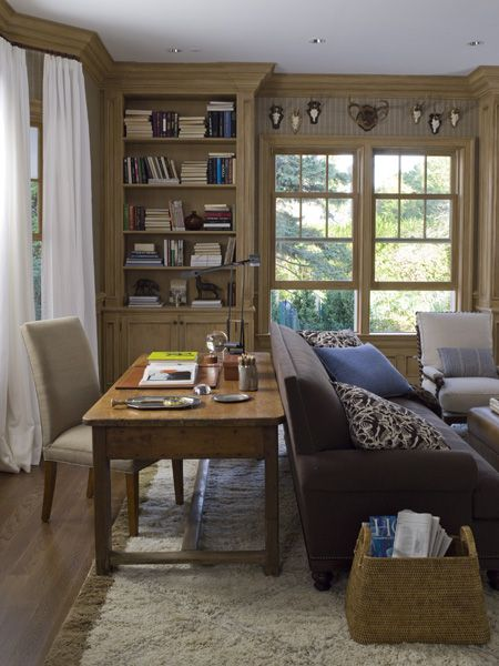 Den Library Design Ideas: Den Ideas: Desk Behind Couch, Magazine Basket, Color