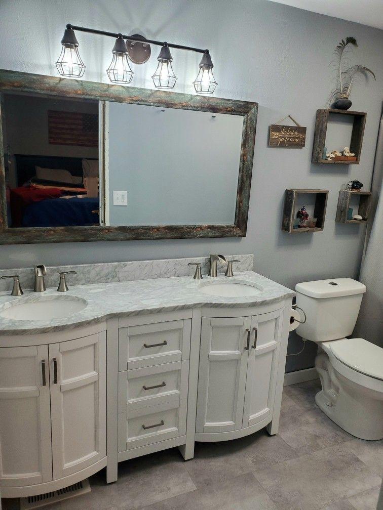 Bathroom remodel white vanity gray wall rustic light