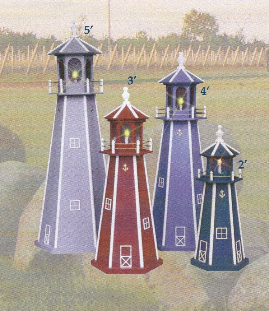 yard decor ornaments | Amish crafted Lighthouse Light ...