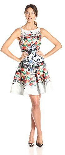 Julian Taylor Womens Sleeveless Floral Printed Fit and Flare Dress