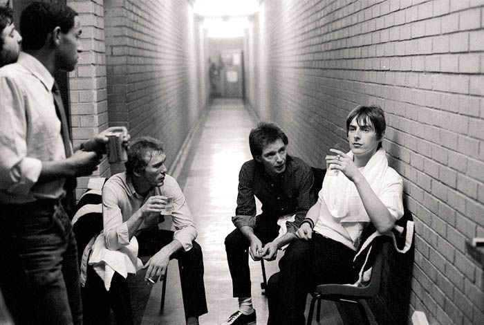 The Jam backstage after a gig in 1981.