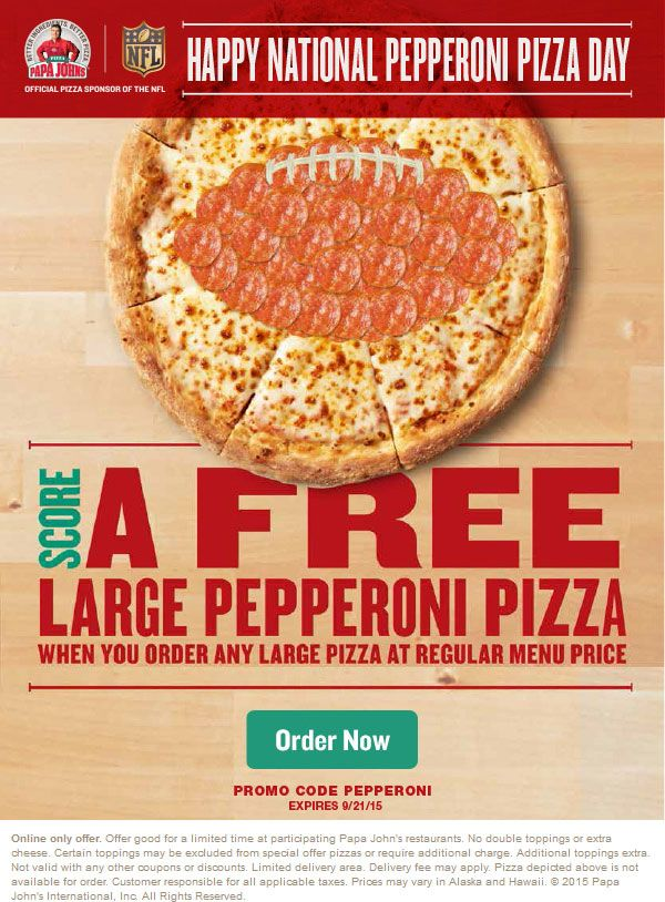 image regarding Papa Johns Printable Menu identified as Pinned September 21st: Moment superior pepperoni pizza no cost