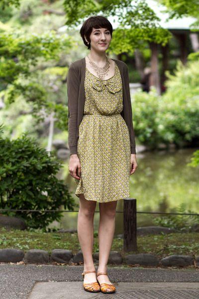cozy boutique dress - Uniqlo cardigan - Softspots sandals