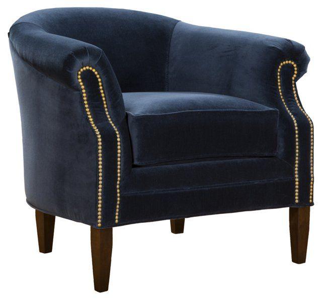 Navy Velvet Club Chair: Club Chairs, Chair, Furniture