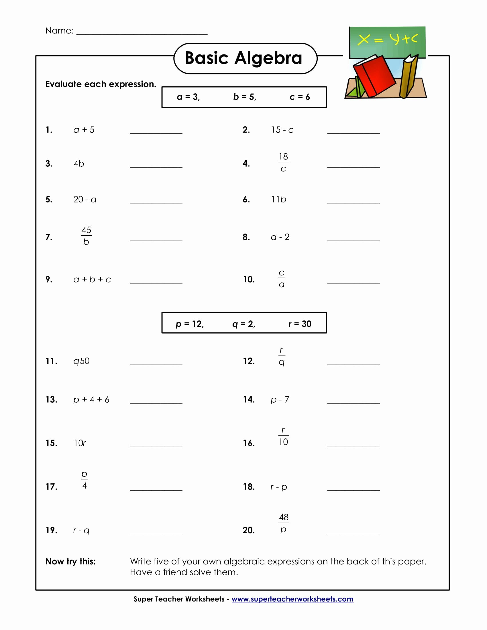 Math Worksheets Algebra In