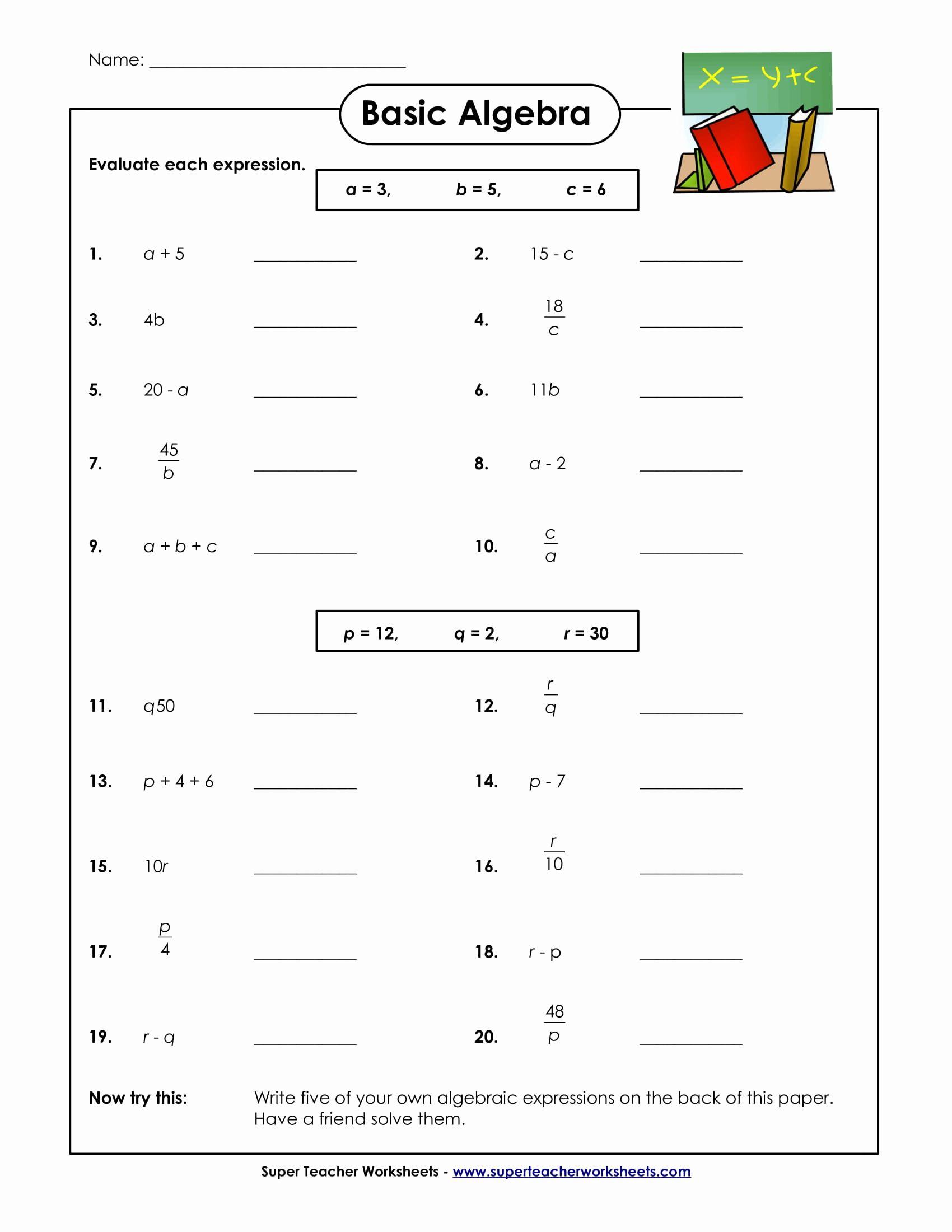 Math Worksheets Algebra In