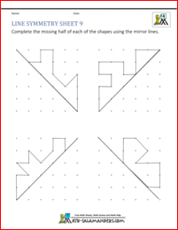 Lines Symmetry Sheet 9 With Diagonal Mirror Lines Symmetry Worksheets Math Patterns Symmetry