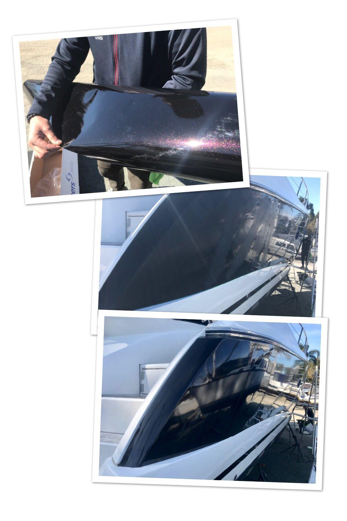 Made A Sunseeker 47 Beautiful Again It Was Fun 3m Gloss Ember Black Boat Wraps Custom Vinyl Vinyl Wrap