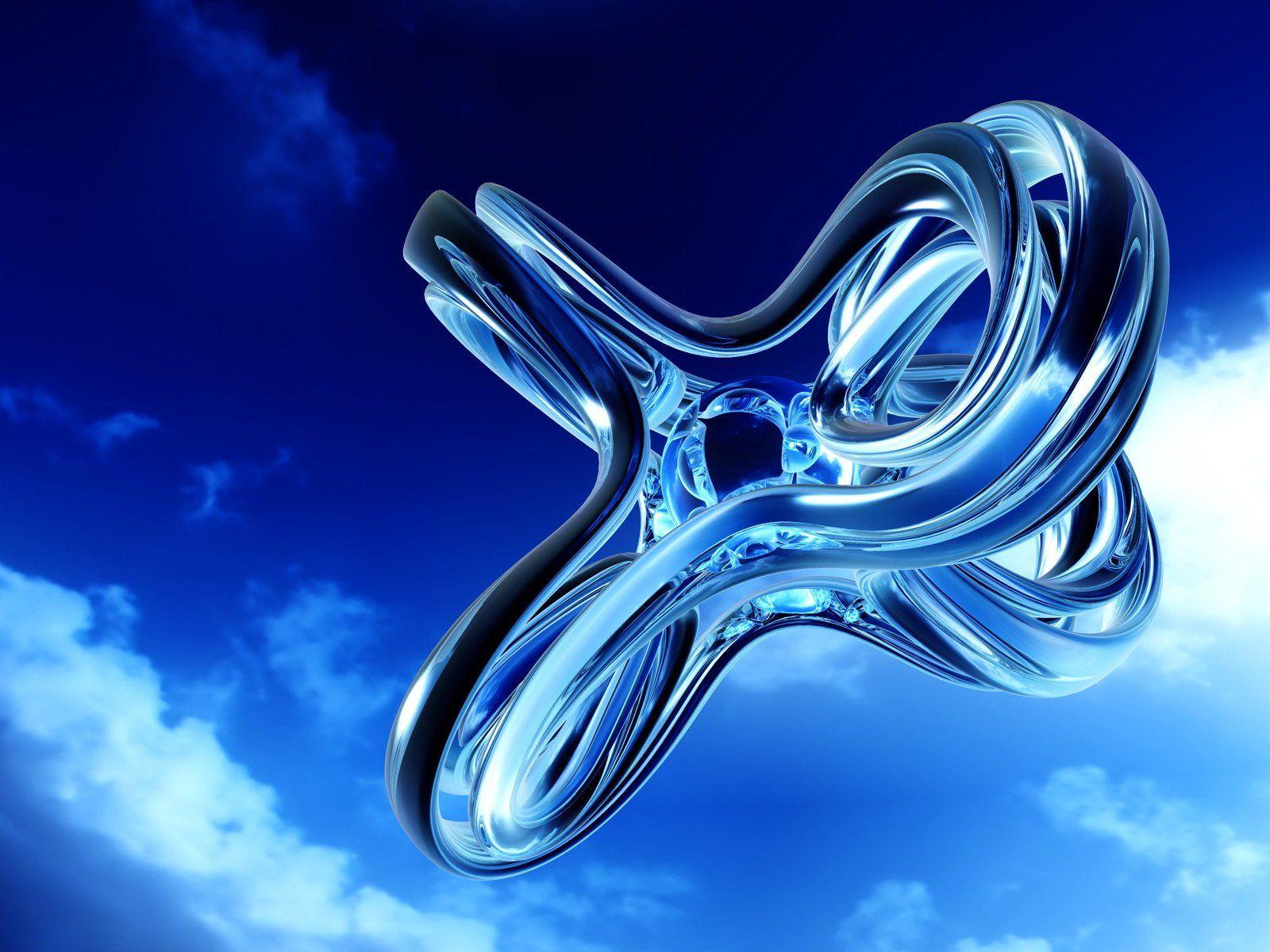 Free 3d Desktop Wallpaper Screensavers Free Blue Knot In The Sky Digital 3d Art Computer Desktop Wallpapers