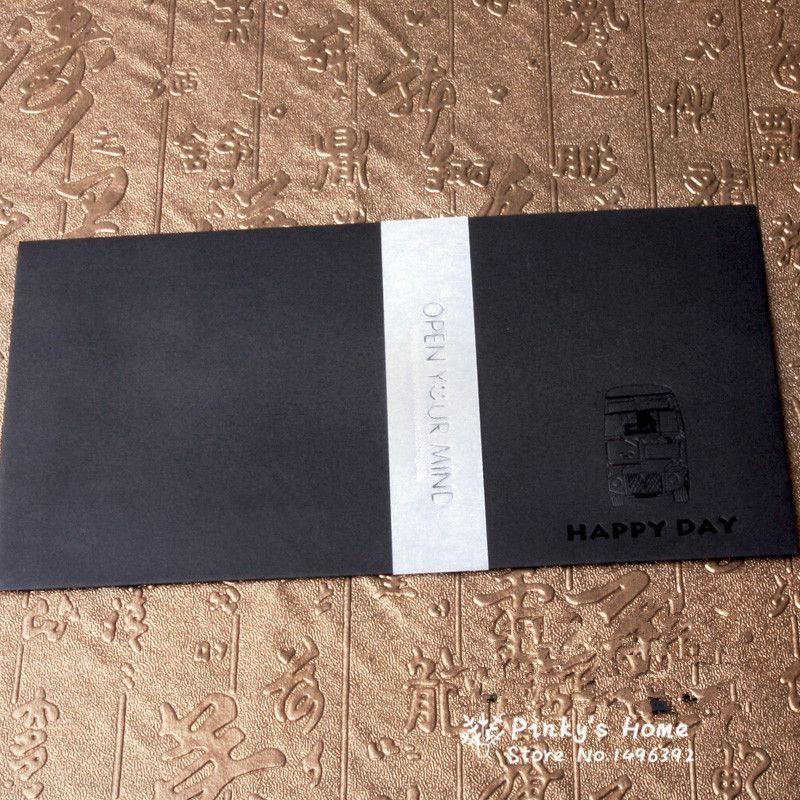 5pcs/set Retro Black Gold Foil Envelope High-grade Envelopes Kraft ...