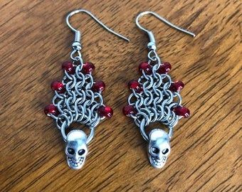 Skull Chainmaille Earrings / Gothic Gift for Her / Biker Chick Earrings for Women / Viking Earrings