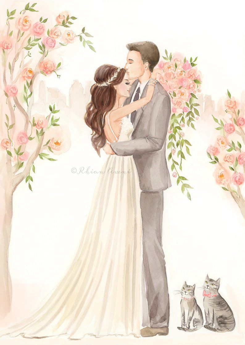 представленной жених и невеста картинки акварелью немного терпения